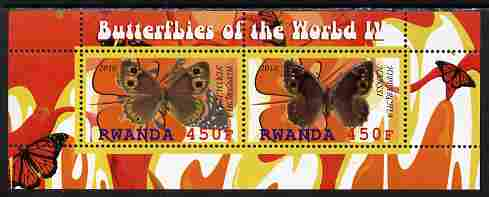 Rwanda 2010 Butterflies #4 perf sheetlet containing 2 values unmounted mint