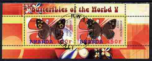 Rwanda 2010 Butterflies #5 perf sheetlet containing 2 values fine cto used