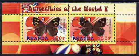 Rwanda 2010 Butterflies #5 perf sheetlet containing 2 values unmounted mint