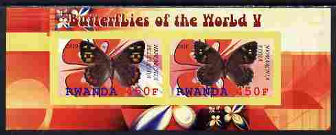 Rwanda 2010 Butterflies #5 imperf sheetlet containing 2 values unmounted mint