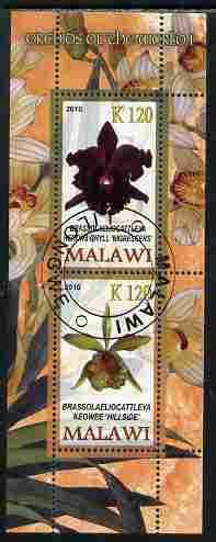 Malawi 2010 Orchids #1 perf sheetlet containing 2 values fine cto used
