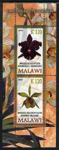 Malawi 2010 Orchids #1 perf sheetlet containing 2 values unmounted mint