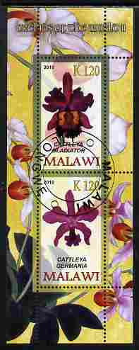 Malawi 2010 Orchids #2 perf sheetlet containing 2 values fine cto used