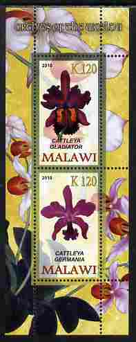 Malawi 2010 Orchids #2 perf sheetlet containing 2 values unmounted mint