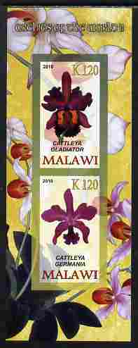 Malawi 2010 Orchids #2 imperf sheetlet containing 2 values unmounted mint