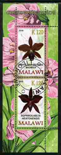 Malawi 2010 Orchids #3 perf sheetlet containing 2 values fine cto used