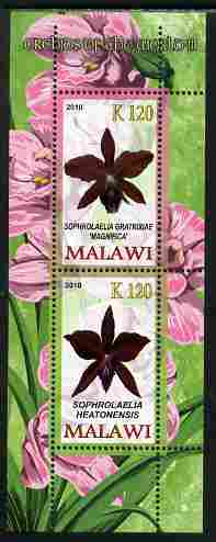 Malawi 2010 Orchids #3 perf sheetlet containing 2 values unmounted mint