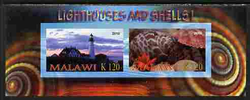 Malawi 2010 Seashells & Lighthouses #1 imperf sheetlet containing 2 values unmounted mint