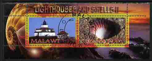 Malawi 2010 Seashells & Lighthouses #2 perf sheetlet containing 2 values fine cto used
