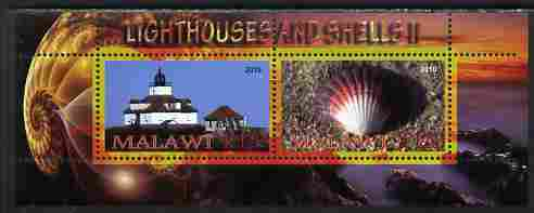 Malawi 2010 Seashells & Lighthouses #2 perf sheetlet containing 2 values unmounted mint