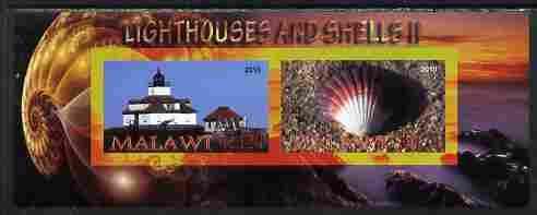 Malawi 2010 Seashells & Lighthouses #2 imperf sheetlet containing 2 values unmounted mint