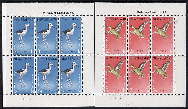 New Zealand 1959 Health - Teal & Stilt set of 2 m/sheets unmounted mint SG MS 777c