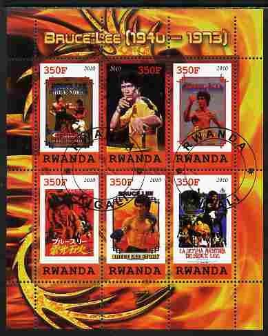 Rwanda 2010 Bruce Lee perf sheetlet containing 6 values fine cto used