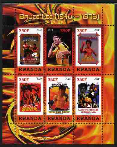 Rwanda 2010 Bruce Lee perf sheetlet containing 6 values unmounted mint