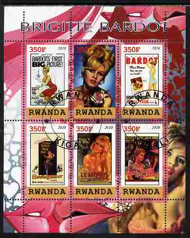 Rwanda 2010 Brigette Bardot perf sheetlet containing 6 values fine cto used