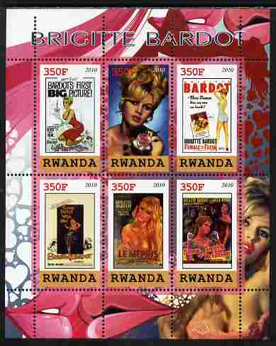 Rwanda 2010 Brigette Bardot perf sheetlet containing 6 values unmounted mint