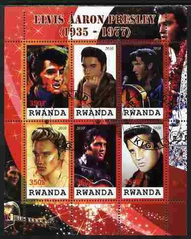 Rwanda 2010 Elvis Presley perf sheetlet containing 6 values fine cto used