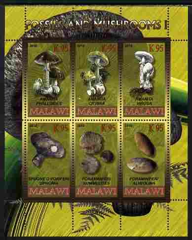 Rwanda 2010 Fossils & Mushrooms #1 perf sheetlet containing 6 values unmounted mint