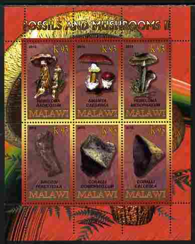 Rwanda 2010 Fossils & Mushrooms #2 perf sheetlet containing 6 values unmounted mint