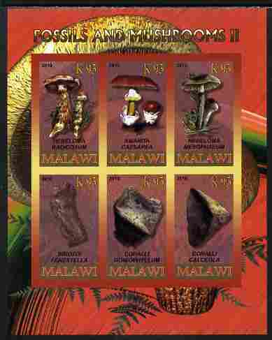 Rwanda 2010 Fossils & Mushrooms #2 imperf sheetlet containing 6 values unmounted mint