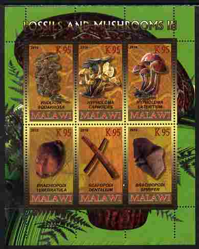 Rwanda 2010 Fossils & Mushrooms #3 perf sheetlet containing 6 values unmounted mint