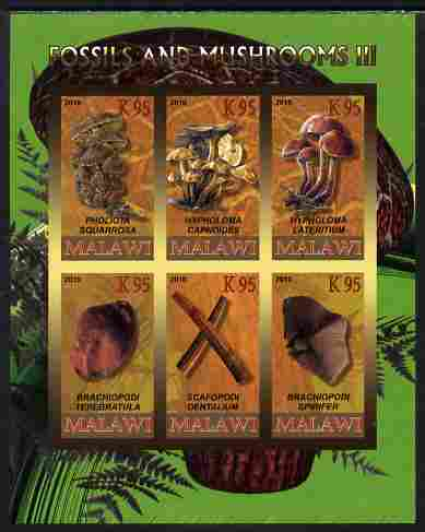 Rwanda 2010 Fossils & Mushrooms #3 imperf sheetlet containing 6 values unmounted mint