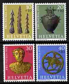 Switzerland 1972 Pro Patria - Archaeological Discoveries perf set of 4 unmounted mint SG 831-4