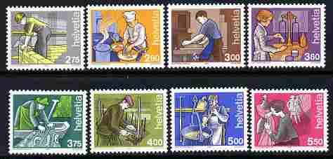 Switzerland 1989-2001 Occupations perf set of 8 unmounted mint SG 1168-76