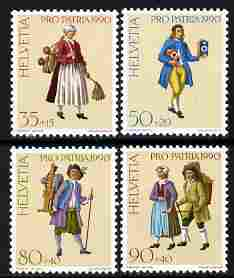 Switzerland 1990 Pro Patria - Street Criers perf set of 4 unmounted mint SG 1205-08