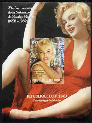 Chad 2010 85th Birth Anniversary of Marilyn Monroe #2 imperf s/sheet unmounted mint. Note this item is privately produced and is offered purely on its thematic appeal