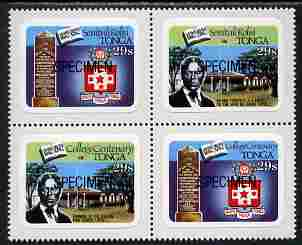 Tonga 1982 College Centenary 29s self-adhesive se-tenant block of 4 opt'd SPECIMEN unmounted mint, as SG 827-30