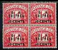 British Occupations of Italian Colonies - Eritrea 1950 KG6 British Administration Postage Due 10c on 1d overprinted BA Eritrea block of 4 unmounted mint SG ED7
