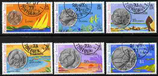 British Virgin Islands 1973 First Coinage Issue perf set of 6 fine cds used, SG 289-94