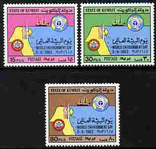 Kuwait 1983 World Environment Day perf set of 3 unmounted mint SG 1009-11, stamps on environment, stamps on maps