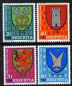 Switzerland 1981 Pro Juventute Arms of the Communes set of 4 unmounted mint SG J274-7