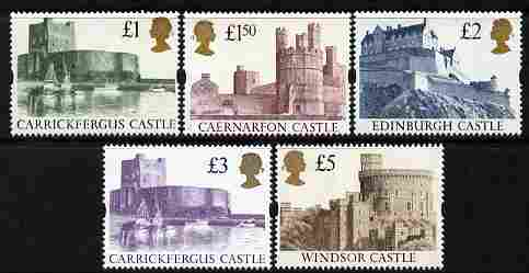 Great Britain 1992-95 Castle High Value set of 5 (Harrison printing) unmounted mint, SG 1611-14
