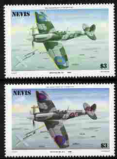 Nevis 1986 Spitfire $3 (Mark XII) with red omitted plus normal both unmounted mint as SG 374.