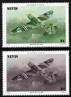 Nevis 1986 Spitfire $4 (Mark XXIV) with red omitted plus normal both unmounted mint as SG 375.