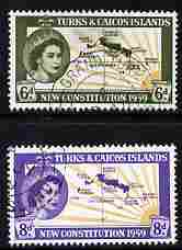 Turks & Caicos Islands 1959 New Constitution set of 2 fine cds used, SG 251-2