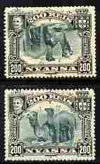 Nyassa Company 1901 Dromedaries 200r with inverted centre plus normal both mounted mint, SG 38a