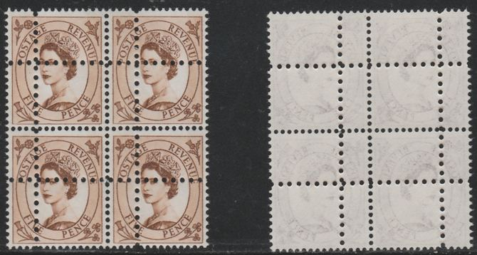 Great Britain 1960-67 Wilding 5d phosphor unmounted mint block of 4 with perforations doubled (stamps are quartered) interesting forgery