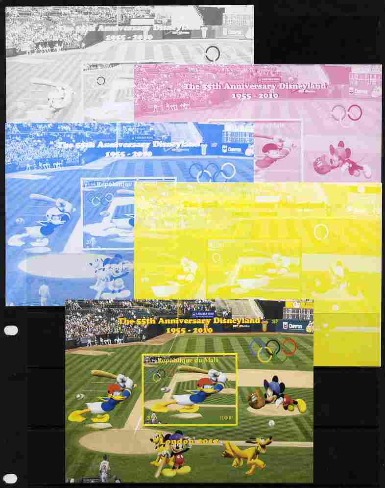 Mali 2010 The 55th Anniversary of Disneyland - Baseball #1 s/sheet - the set of 5 imperf progressive proofs comprising the 4 individual colours plus all 4-colour composite, unmounted mint