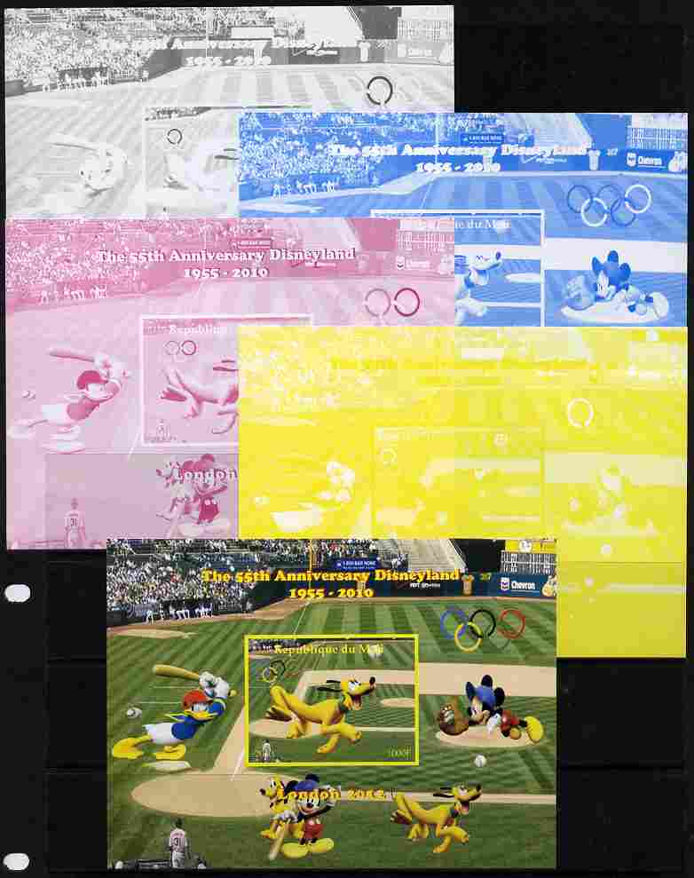 Mali 2010 The 55th Anniversary of Disneyland - Baseball #2 s/sheet - the set of 5 imperf progressive proofs comprising the 4 individual colours plus all 4-colour composite, unmounted mint
