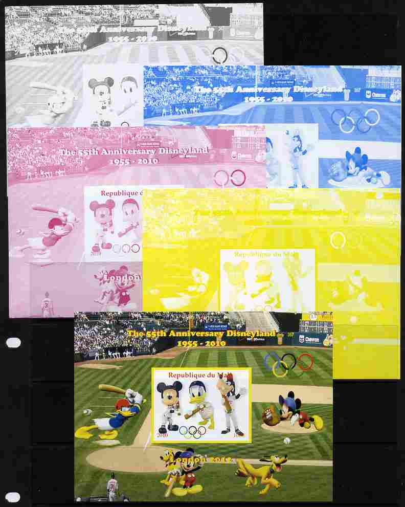 Mali 2010 The 55th Anniversary of Disneyland - Baseball #4 s/sheet - the set of 5 imperf progressive proofs comprising the 4 individual colours plus all 4-colour composite, unmounted mint