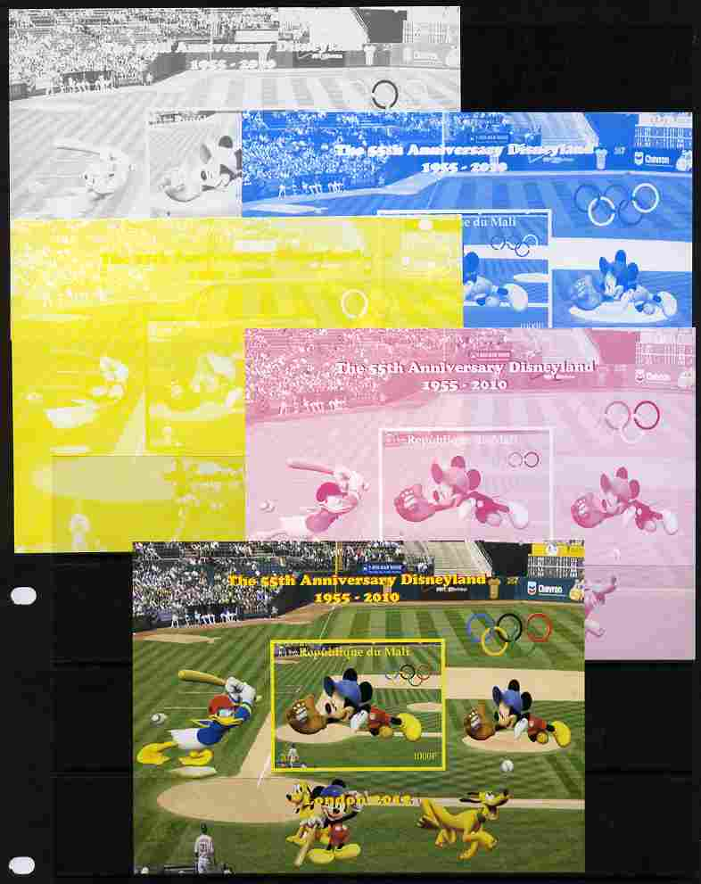 Mali 2010 The 55th Anniversary of Disneyland - Baseball #5 s/sheet - the set of 5 imperf progressive proofs comprising the 4 individual colours plus all 4-colour composite, unmounted mint