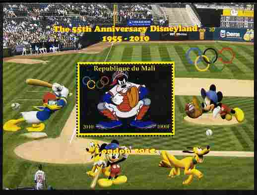 Mali 2010 The 55th Anniversary of Disneyland - Baseball #6 perf s/sheet unmounted mint. Note this item is privately produced and is offered purely on its thematic appeal,