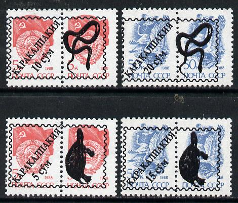 Karakalpakia Republic - Reptiles opt set of 4 values, each design optd on  pair of  Russian defs (total 8 stamps) unmounted mint