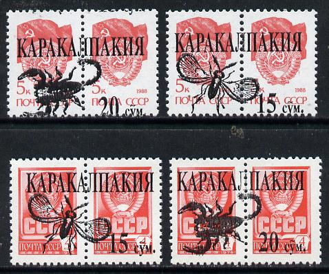Karakalpakia Republic - Insects opt set of 4 values, each design opt'd on  pair of  Russian defs (total 8 stamps) unmounted mint