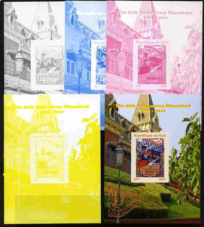 Mali 2010 The 55th Anniversary of Disneyland - Walt Disney's Railroad Story #16 s/sheet - the set of 5 imperf progressive proofs comprising the 4 individual colours plus all 4-colour composite, unmounted mint