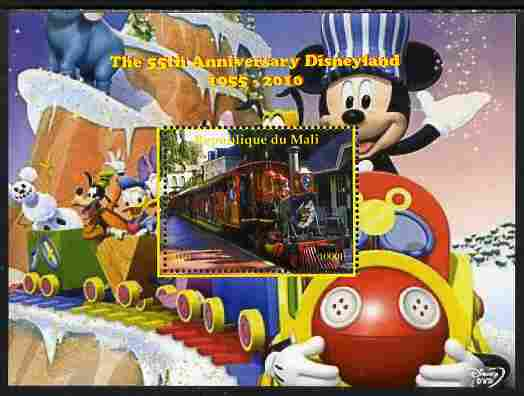 Mali 2010 The 55th Anniversary of Disneyland - Mickey Mouse Railway #01 perf s/sheet unmounted mint. Note this item is privately produced and is offered purely on its thematic appeal